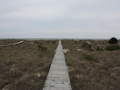 Holden Beach house rental - Walkway to the beach, through the dunes.