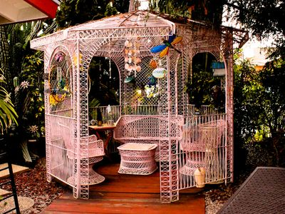 Front yard gazebo retreat.