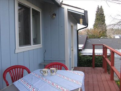 Back deck perfect for morning coffee and evening BBQs.  Seating for up to 8.
