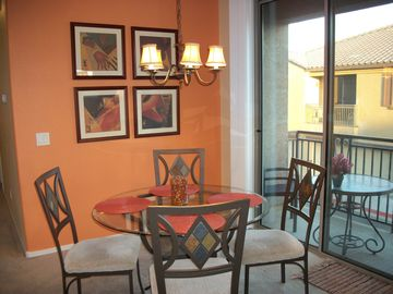 Mesa condo rental - Beautiful dining for 4, plus 3 at the counter. New stoneware, glasses, cookware.