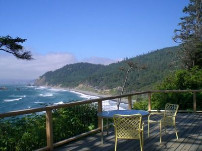 View from deck looking north to Haystack Rock and Tillamook Head