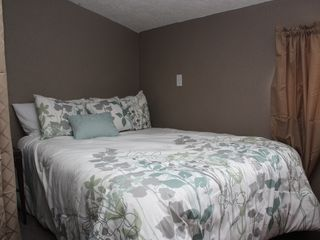 Crystal Mountain, Thompsonville lodge photo - Full bed in side B loft area with privacy curtain w/views of Crystal's Buck.