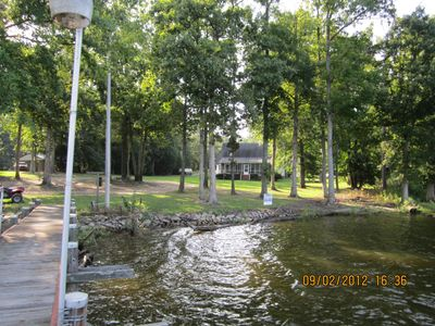 Leesville house rental - view of house and yard from the dock
