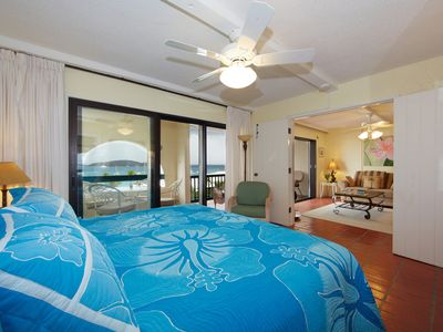 East End condo rental - Master bedroom opens to living room & has a view of the Caribbean Sea.