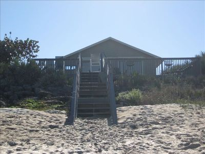 New Smyrna Beach house rental - View from the sand going back to the deck/house.