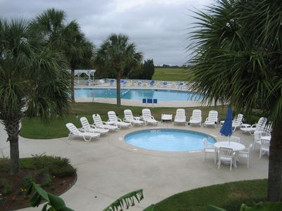 Large pool complex with kiddie pool and bathouse is a 4 minute walk.