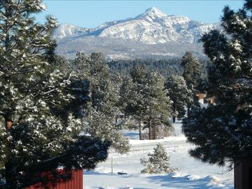 View of majestic Pagosa Peak from front balcony and living room