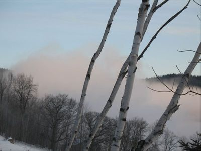 Early December morning snowmaking on Black Mtn-view from home
