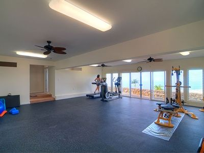 Holualoa house rental - Spacious workout area with spectacular views - naturally cooled by sea breezes.