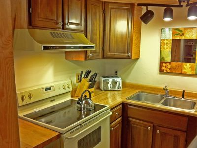 Killington house rental - Right: The kitchen has everything you need - coffee maker, toaster, blender....