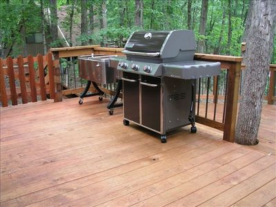 Gas Grill on New Deck. Gate conveniently encloses pets or young children.
