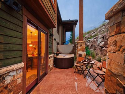 Private patio with hot tub and BBQ grill