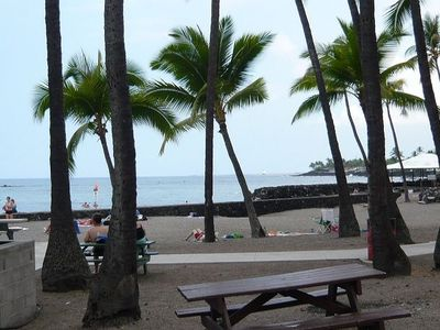 Kahalu'u Beach Park is directly across the street from the condo