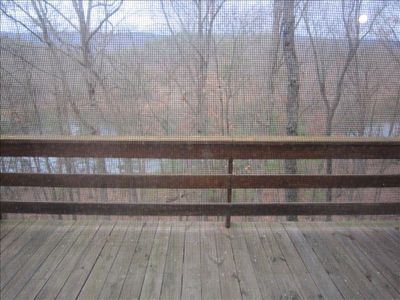 2 large decks facing mountain, overlooking 45 acre lake. Spectacular  sunsets!