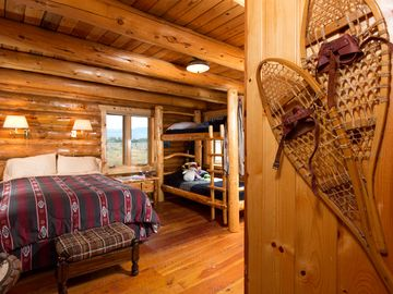 east lower bedroom with 7' bunkbeads and view to Sleeping Indian mountain