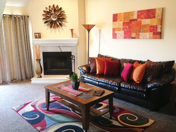 Osage Beach condo rental - LIVING ROOM WITH WOOD BURNING FIREPLACE