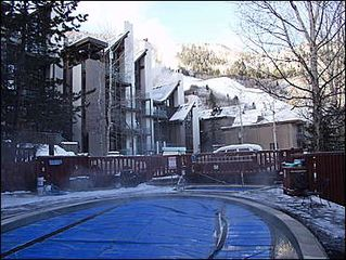 Aspen condo photo - View of slopes from pool and hot tub