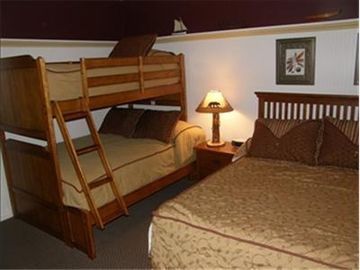 Guest Bedroom with Full and Twin Bunk bed and Queen bed