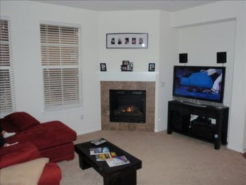 Den with gas fireplace