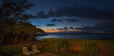 The lights of Kawaihae sparkle the Kohala hills -- the last colors of sunset.