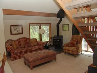 Breckenridge townhome photo - Living Room with Wood Burning Stove