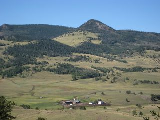 Guffey farmhouse photo - Aspen Creek Ranch homestead area with Dick's Peak in far background
