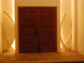 Kino Bay villa photo - The front door with backlit whale ribs.