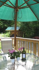 Wellsboro lodge photo - Front Deck Dining / Sauna in backround