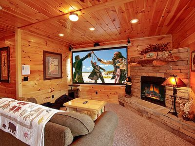 Pigeon Forge cabin rental - Home Theater room with Surround Sound and premium cable channels.