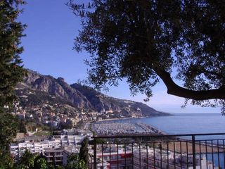 Menton villa photo - Terrace view of harbor and Italy