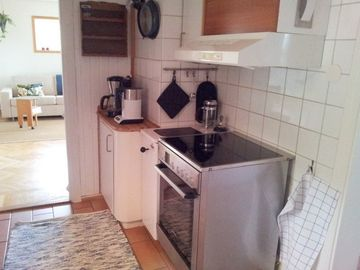 Kitchen: Washer and dryer, Refrigerator and freezer, Stove with convection oven