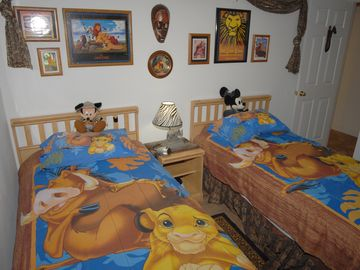 Lion King Twin Bedroom with LED TV, PS2, DVD, Visco Foam