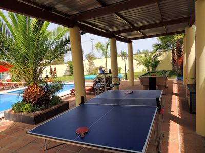 Ping Pong Table Tennis & Champions League Pool Table besides the Heated Pool