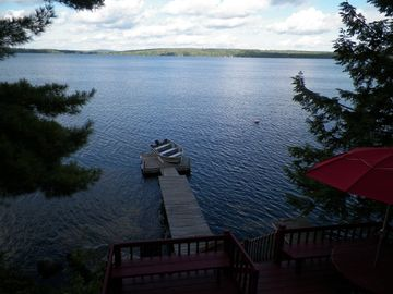 A view of the lake from the upstairs bedroom.
