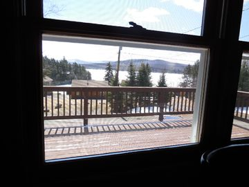 This is the view of the lake and mountains from your seat at the kitchen table.