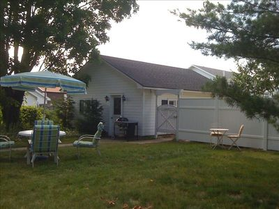 Back Yard with Garage and Bar B Q