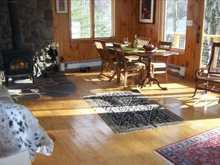 Woodstock cabin photo - Our Sunny Living Room with Woodstove