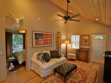 Twin Peaks cabin rental - Living room with vaulted ceilings and knotty pine exposed wood