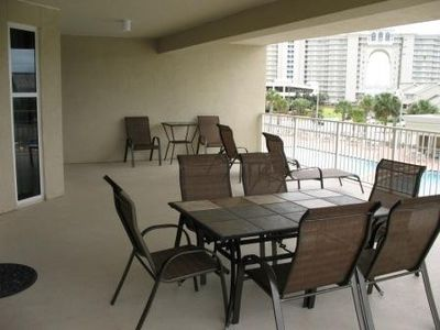 Ariel Dunes condo rental - Our 850 sq ft covered balcony which overlooks the three pools. Plenty of room.