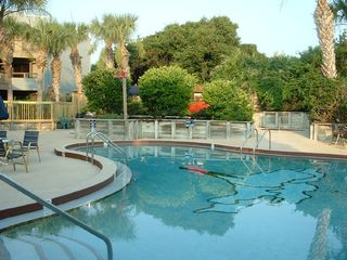 St. Augustine Beach condo photo - Pool outside H-102, BBQ and Jacuzzi in the back
