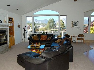 Tahoe Keys house rental - Great room w/ fireplace, home theatre, large balcony with gas grill
