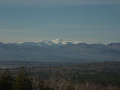 View of Mt Washington, Presidential Range and National Forest from deck