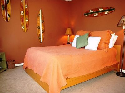 Master Bedroom with Sleep Number Queen Bed, Valuted Ceiling and TV w/ DVD