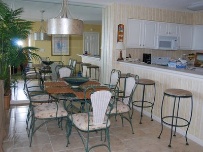 Newly updated Dining Area- in an upscale beach theme.