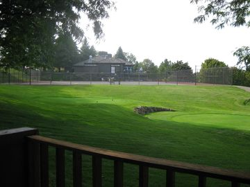View of tennis courts from the deck.