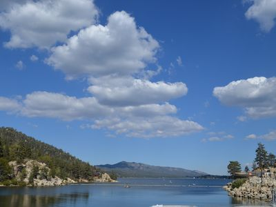 Moonridge cottage rental - View of Beautiful Big Bear Lake from the Dam.
