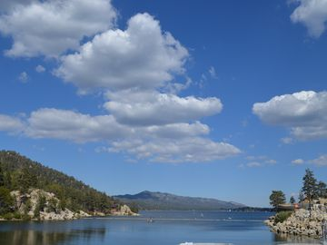 View of Beautiful Big Bear Lake from the Dam.