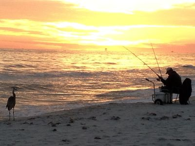 Another shot of that same fisherman and a hopeful bird at sunset in January