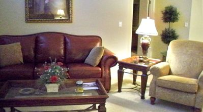 Beautiful, upscale leather furniture in the living room