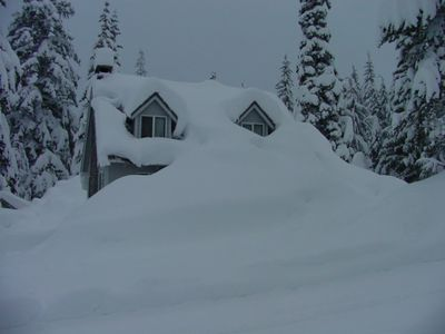 View of cabin across the street, later winter.